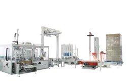 Case de l'emballeuse automatique de carton de l'emballage d'emballage avec la couche d'enrubannage de palettisation Palletizer Machine pour l'alimentation de papier-tissu
