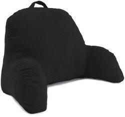 Confort noir Microsuède Repos au lit - Coussin de dossier avec des armes - La lecture de l'alitement chaise Longue - Assis oreiller de soutien - Soft mais coussin Firmly-Bed reste l'oreiller