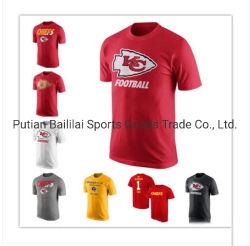 Design de camisas próprios homens Footbal cor vermelha de algodão personalizada de manga curta Tshirt