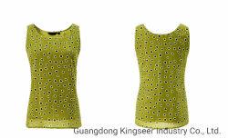 Леди нового дизайна моды DOT печати сарафан зеленого цвета шифона T кофта майка для женщин блуза