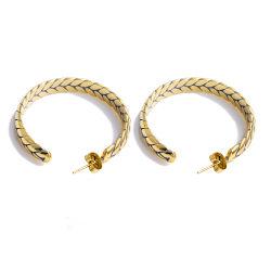 Form-Edelstahl-Schmucksache-Gold überzogene Weizen-Ohr-Band-Ohrringe