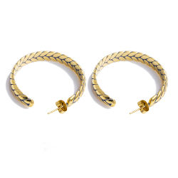 La moda de joyería de acero inoxidable de trigo de oro forma Hoop Earrings