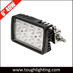 E-Mark ECE R10 승인 12V 24V 40wcree Osram 자동차 자동 오프로드 트랙터 스퀘어 원형 플러드 LED 작업등(측면 포함 마운트 브래킷