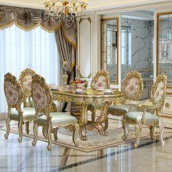 ダイニングルームの家具、木製彫刻が施されたクラシックなダイニングテーブル、ファブリックがあしらわれている ソファチェアとカップボード(オプションの家具付き)、カラー