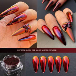 Farbwechsel Pigment Schwarz zu Rot Chamäleon Pigmente Nails Acryl Pulver