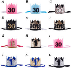 Los niños Año Nuevo 1er cumpleaños fiesta de cumpleaños bebé Hat Cap Niña Niño Flores de color azul Rosa adulto de Corona de Princesa Hairwear diadema