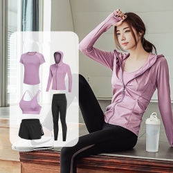 ملابس الركض النسائية السريعة والجفّة عالية الجودة التي تسمح بمرور الهواء 5 قطع مجموعات يوغا لممارسة الرياضة