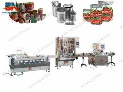 L'ostruzione inscatolata automatica della salsa può macchina di rifornimento con stagno che lava & riga di aggraffatura
