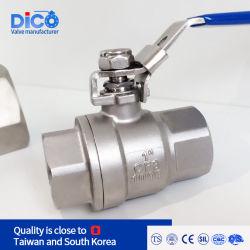 Dico Brand marcação Ts Ss Rosca BSP NPT de aço inoxidável de diâmetro total 2PC a Válvula de Esfera