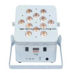 Rgbaw紫外線電池式LED DJは12*18W 6in1無線DMX LEDの平らな同価をつける