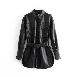 Nuevo invierno ropa de moda mujer European-Style Chaqueta PU