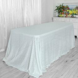 装飾的なポリエステルテーブルクロスの結婚披露宴の正方形の白いスパンコールのテーブルクロス