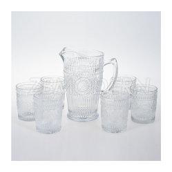 Venda por grosso de PCS 7 estilo retro relevo elegante design de girassol transparente jarra de vidro vidro potável para leite suco de chá e café