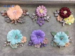 형식 직물 꽃 모조 다이아몬드 브로치와 머리 악대 직물 꽃