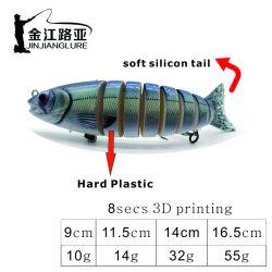 Js-14-1 Isca de pesca de Plástico Rígido Artificial Multi Unida por malhetes nadar Bait