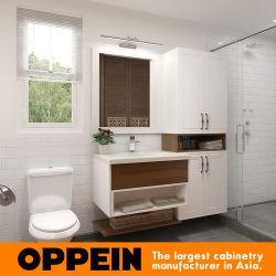 Laca Blanca Oppein gabinete de vanidades de baño de madera con Cuenca (OP16-HS02BV1)