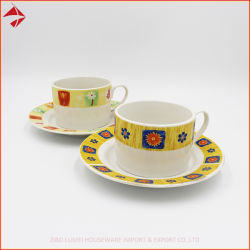 Il marchio su ordinazione rinforza l'insieme di ceramica della tazza del tè del caffè della porcellana con il piattino per la torta ed il deserto