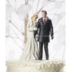 Primeros Wedding personalizados de la torta de la estatuilla de los pares del país de las maravillas del invierno