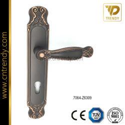 (High-end) Alliage de zinc de style européen mortaise la poignée de verrouillage de porte sur la plaque (7064-Z6309)