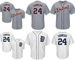 Los Tigres de Detroit, Miguel Cabrera fresco de béisbol de la base de camisetas