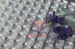 Round irisé carreaux de mosaïque de verre blanc cristal (CFR617)