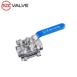 China Fabricação 3PC Aço 259/2999 Válvula de Esfera de rosca DIN