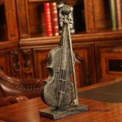 模倣された青銅色の終わりの優雅なPolyresinのバイオリンの彫像の研究室の装飾