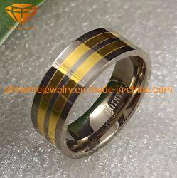 IP-Gold überzogener Schmucksache-Ring-Titanhochzeits-Wolframband-Poliertitanring Tr1924