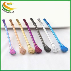 304 Roestvrijstalen Koffiebeker Strainer Straw Spoon Eco-Friendly Bar Tool Colorful Tea Coffee Filter Roerstaaf