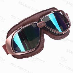 Retro casco Eyewear del getto del nuovo di Harley di stile del motociclo degli occhiali di protezione della motocicletta cuoio degli occhiali di protezione cinque occhiali di protezione del MX di colore con l'obiettivo chiaro