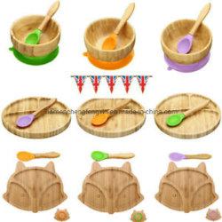 O conjunto inclui Taça de bambu e colher de bambu com ponta de mordedores de Silicone macio•fácil de limpar