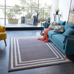 Zone de frontière des tapis gris luxe Tapis Tapis de plancher de tapis en laine personnalisé