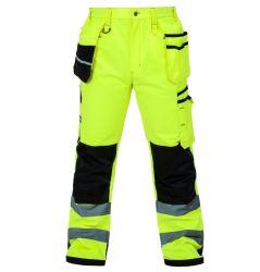 Hi Vis reflexiva de los hombres de la carga fluorescente pantalones de trabajo Multi bolsillos