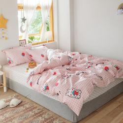 卸売200の糸のカウントは女の子の部屋のシーツの寝具の一定の綿3PCSのキルトカバーセットを印刷した