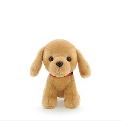 Pequeno Cão de pelúcia brinquedo com Anel O Bell em volta do pescoço