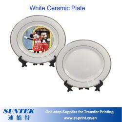 Piatto di ceramica bianco di sublimazione con stampa calda della pressa