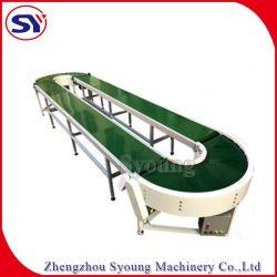 O manuseio de materiais o transporte de alimentos em aço inoxidável PVC/transportador de correia de transmissão de PU/Transporte do Sistema do Transportador