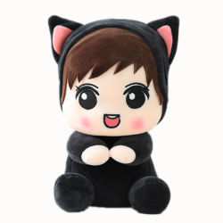 Vinyl Lovely Baby Toys Peluche Moda Soft Toy personalizado Muñeca negra para bebés con ropa de peluche chica peluche Juguetes de peluche