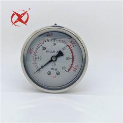 Manometer van de Aansluting van de Maat van de Druk van het roestvrij staal de Geval vloeibaar-Gevulde Achter