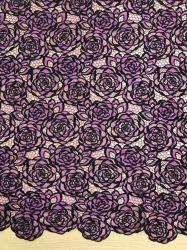 Deux couleurs pour la broderie de dentelle robe robe de soirée