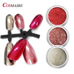 Gold/Silver Rose chrome brillant miroir rouge paillettes perles Pigment pour nail art