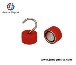 Recubierto de caucho de silicona roja mayorista Hook gancho magnético del imán imanes sujeción