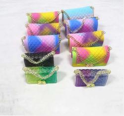 Borsa della gelatina della ragazza per i capretti delle donne, mini borse, borse calde del silicone del sacchetto della gelatina della mano di promozione di vendita del fornitore con la catena