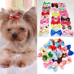 10pcs Cute ruban Accessoires de toilettage pour animaux de compagnie à la main petit chien chat sèche archets avec Mélange de couleur de la bande en caoutchouc élastique