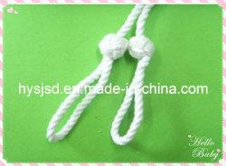 Cordon coton tressé blanc avec noeud