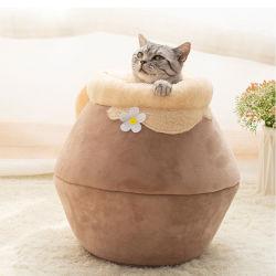 O inverno quente cama de gato dobrável portátil programável de pelúcia Bonitinha Cat House Cave Saco de Dormir amortecer Espessado Gatinhos Cama Produtos Pet