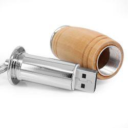 محرك أقراص USB مزود بشكل أسطواني خشبي، سلسلة مفاتيح صغيرة بتصميم إبزيم