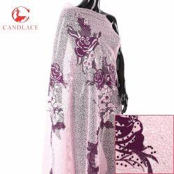 Ткань шнурка Tulle пинка ткани шнурка Нигерии Tulle высокого качества африканская для платья венчания