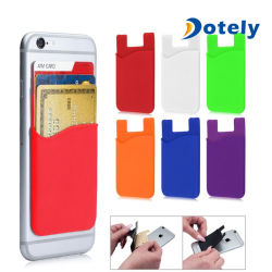 Supporto di scheda adesivo mobile del silicone della casella della cassa del raccoglitore del telefono delle cellule