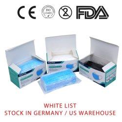 Azione nel tipo certificato List+Ce En14683 abitudine medica a gettare di Germany/USA Warehouse+White del pacchetto della casella della mascherina delle mascherine chirurgiche di Iir 2r dalla Cina da vendere
